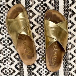 Sam Edelman Gold Slide Leather Sandals